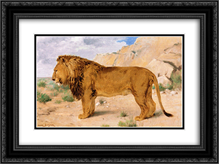 Study of a Lion 24x18 Black or Gold Ornate Framed and Double Matted Art Print by Rosa Bonheur