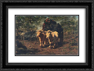 The Charcoal Burners 24x18 Black or Gold Ornate Framed and Double Matted Art Print by Rosa Bonheur