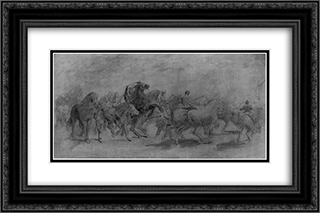 The Horse Fair (study) 24x16 Black or Gold Ornate Framed and Double Matted Art Print by Rosa Bonheur