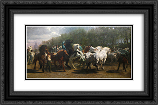 The Horse Fair 24x16 Black or Gold Ornate Framed and Double Matted Art Print by Rosa Bonheur