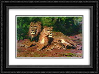 The Lion at Home 24x18 Black or Gold Ornate Framed and Double Matted Art Print by Rosa Bonheur