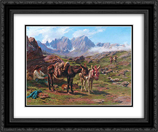 The Pyrenees 24x20 Black or Gold Ornate Framed and Double Matted Art Print by Rosa Bonheur