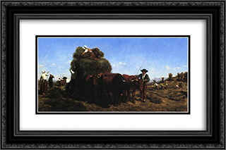 The Return from the Harvest 24x16 Black or Gold Ornate Framed and Double Matted Art Print by Rosa Bonheur