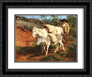 The Return from the Mill 24x20 Black or Gold Ornate Framed and Double Matted Art Print by Rosa Bonheur