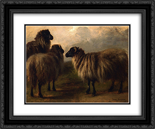Three Wooly Sheep 24x20 Black or Gold Ornate Framed and Double Matted Art Print by Rosa Bonheur