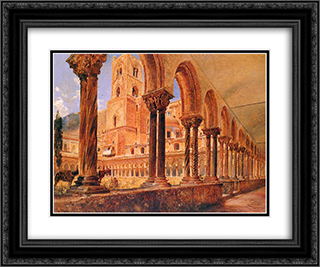 A View Of Monreale, Above Palermo 24x20 Black or Gold Ornate Framed and Double Matted Art Print by Rudolf von Alt