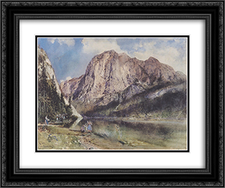 Altausseersee with Trisselwand 24x20 Black or Gold Ornate Framed and Double Matted Art Print by Rudolf von Alt