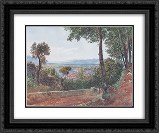 Castellammare on the Gulf of Naples 24x20 Black or Gold Ornate Framed and Double Matted Art Print by Rudolf von Alt