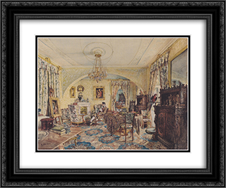 Count Casimir Batthyany in his saloon at Castle Siklos 24x20 Black or Gold Ornate Framed and Double Matted Art Print by Rudolf von Alt