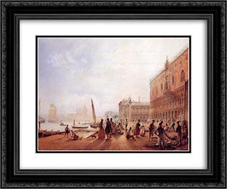 Figures on the Riva degli Schiavone 24x20 Black or Gold Ornate Framed and Double Matted Art Print by Rudolf von Alt