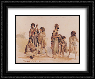 Galician gypsies 24x20 Black or Gold Ornate Framed and Double Matted Art Print by Rudolf von Alt