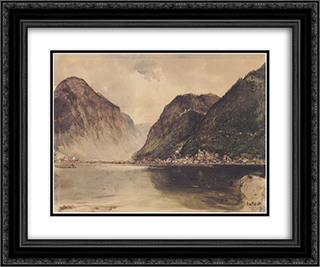 Hallstatt 24x20 Black or Gold Ornate Framed and Double Matted Art Print by Rudolf von Alt