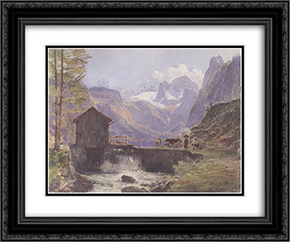 Hoher Dachstein from Lower Gosau 24x20 Black or Gold Ornate Framed and Double Matted Art Print by Rudolf von Alt