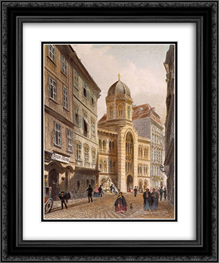 Holy Trinity Greek Church, Vienna 20x24 Black or Gold Ornate Framed and Double Matted Art Print by Rudolf von Alt