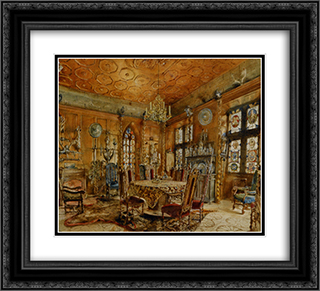Interieur of castleIn Renaissance Style 22x20 Black or Gold Ornate Framed and Double Matted Art Print by Rudolf von Alt