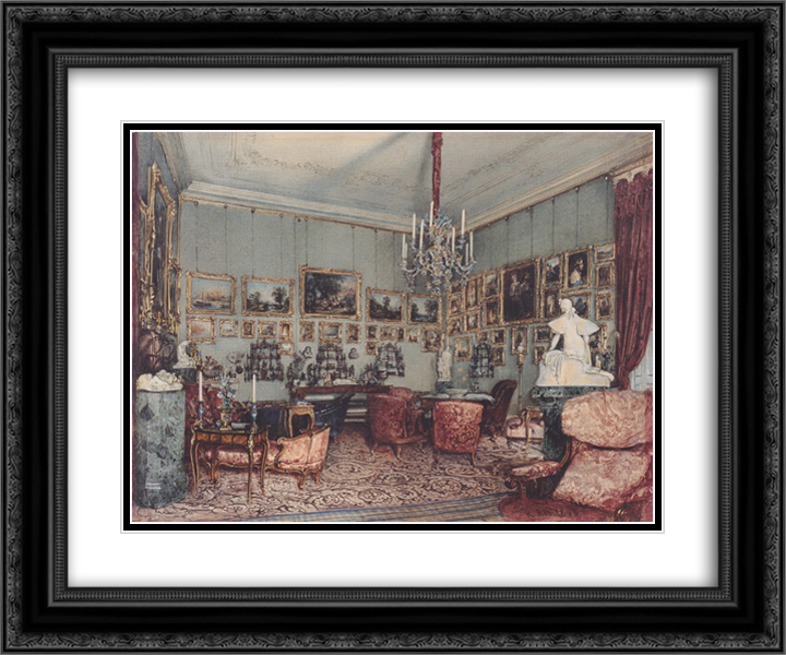 Interior in Palace Windischgratz in the race in Vienna 24x20 Black or Gold Ornate Framed and Double Matted Art Print by Rudolf von Alt