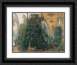 Interior view of the Palm House of Lednice Castle 24x20 Black or Gold Ornate Framed and Double Matted Art Print by Rudolf von Alt