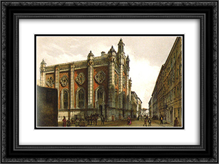Jewish temple in the city Leopold 24x18 Black or Gold Ornate Framed and Double Matted Art Print by Rudolf von Alt