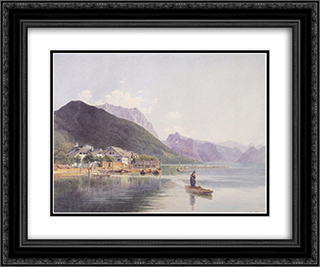 Lake Traun 24x20 Black or Gold Ornate Framed and Double Matted Art Print by Rudolf von Alt