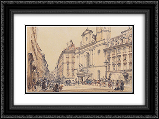 Michaelerplatz and carbon market in Vienna 24x18 Black or Gold Ornate Framed and Double Matted Art Print by Rudolf von Alt