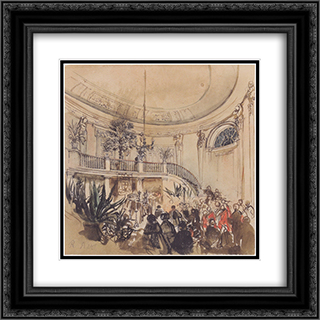Mortuary in a palace 20x20 Black or Gold Ornate Framed and Double Matted Art Print by Rudolf von Alt