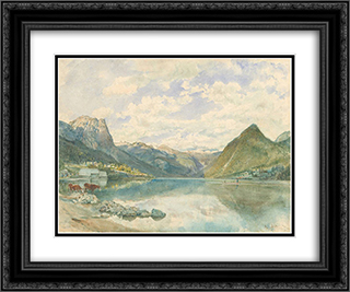 Mountain landscape with the Grundlsee 24x20 Black or Gold Ornate Framed and Double Matted Art Print by Rudolf von Alt