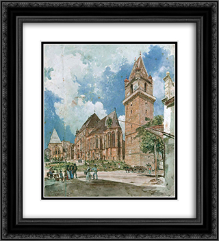 Perchtoldsdorf 20x22 Black or Gold Ornate Framed and Double Matted Art Print by Rudolf von Alt