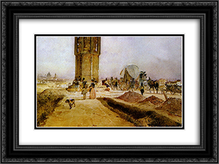 Rush hour traffic on the national road 24x18 Black or Gold Ornate Framed and Double Matted Art Print by Rudolf von Alt
