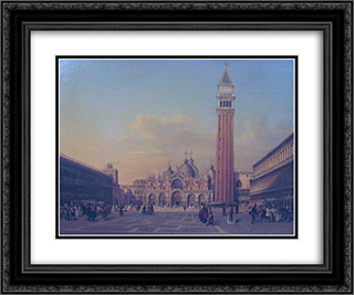 St. Mark's Square in Venice with Austrian military 24x20 Black or Gold Ornate Framed and Double Matted Art Print by Rudolf von Alt