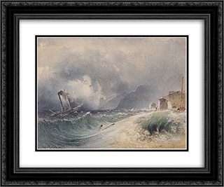 Storm on Lake Garda 24x20 Black or Gold Ornate Framed and Double Matted Art Print by Rudolf von Alt