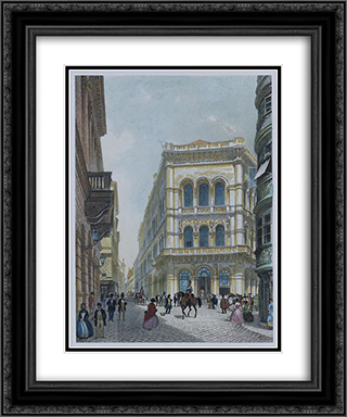 The banking and stock exchange building in the Lord, Vienna 20x24 Black or Gold Ornate Framed and Double Matted Art Print by Rudolf von Alt