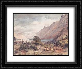 The Bay of Cattaro in Dalmatia 24x20 Black or Gold Ornate Framed and Double Matted Art Print by Rudolf von Alt