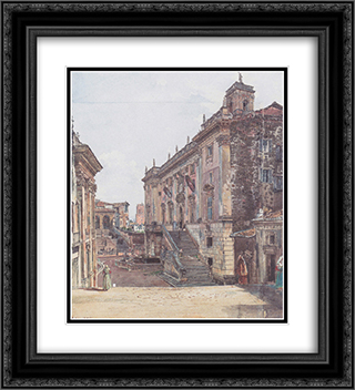 The Capitol in Rome 20x22 Black or Gold Ornate Framed and Double Matted Art Print by Rudolf von Alt