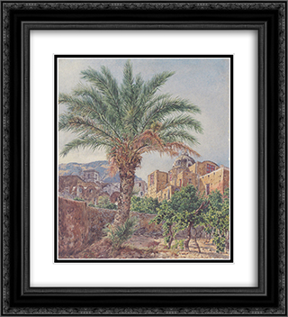 The Cathedral of Capri 20x22 Black or Gold Ornate Framed and Double Matted Art Print by Rudolf von Alt