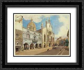 The Cathedral Square in Como 24x20 Black or Gold Ornate Framed and Double Matted Art Print by Rudolf von Alt