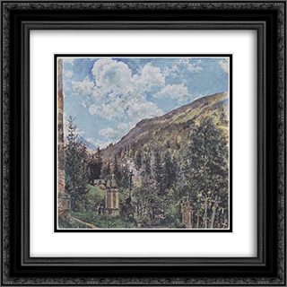 The cemetery in Gastein 20x20 Black or Gold Ornate Framed and Double Matted Art Print by Rudolf von Alt