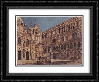 The courtyard of the Doge's Palace in Venice 24x20 Black or Gold Ornate Framed and Double Matted Art Print by Rudolf von Alt