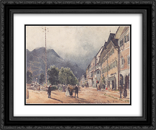 The Esplanade in Ischl 24x20 Black or Gold Ornate Framed and Double Matted Art Print by Rudolf von Alt