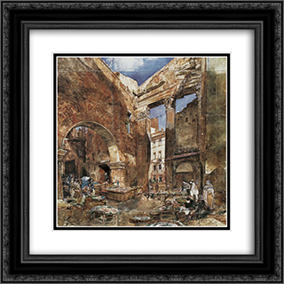 The fish market in Rome 20x20 Black or Gold Ornate Framed and Double Matted Art Print by Rudolf von Alt