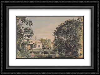 The Imperial Palace Livadia in the Crimea 24x18 Black or Gold Ornate Framed and Double Matted Art Print by Rudolf von Alt
