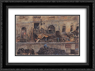 The iron foundry in Kitschelt Skodagasse in Vienna 24x18 Black or Gold Ornate Framed and Double Matted Art Print by Rudolf von Alt