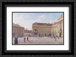The Josef square in Vienna 24x18 Black or Gold Ornate Framed and Double Matted Art Print by Rudolf von Alt