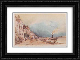 The landing site in Stein an der Donau 24x18 Black or Gold Ornate Framed and Double Matted Art Print by Rudolf von Alt