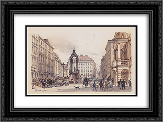 The large market in Vienna 24x18 Black or Gold Ornate Framed and Double Matted Art Print by Rudolf von Alt