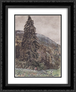 The large pine in Gastein 20x24 Black or Gold Ornate Framed and Double Matted Art Print by Rudolf von Alt