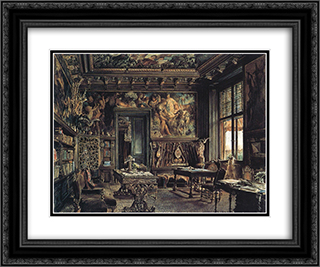The library in the Palais Dumba 24x20 Black or Gold Ornate Framed and Double Matted Art Print by Rudolf von Alt
