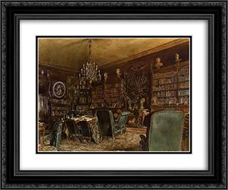 The Library of the Palais Lanckoronski, Vienna 24x20 Black or Gold Ornate Framed and Double Matted Art Print by Rudolf von Alt
