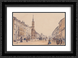 The line of Hunter in Vienna 24x18 Black or Gold Ornate Framed and Double Matted Art Print by Rudolf von Alt