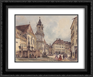 The main square in Bratislava 24x20 Black or Gold Ornate Framed and Double Matted Art Print by Rudolf von Alt