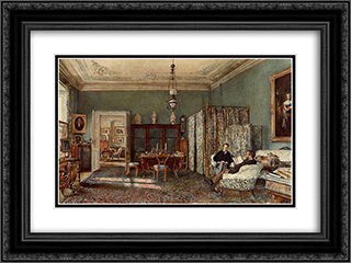 The Morning Room of the Palais Lanckoronski, Vienna 24x18 Black or Gold Ornate Framed and Double Matted Art Print by Rudolf von Alt